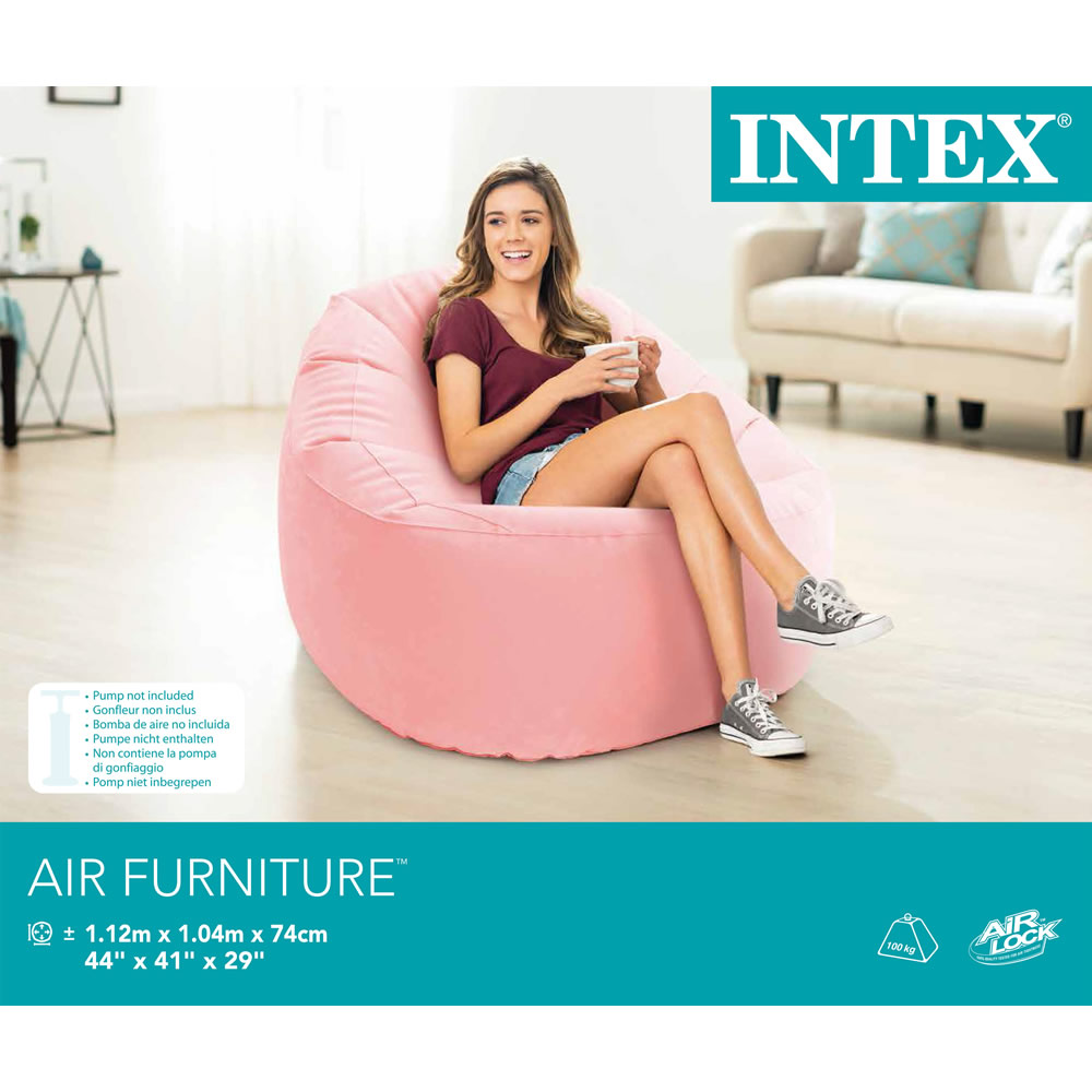 Sillón Inflable Beanless Deluxe Rosa